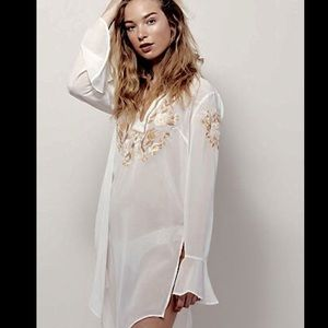 Free People Sheer Embroidered Layering Dress S